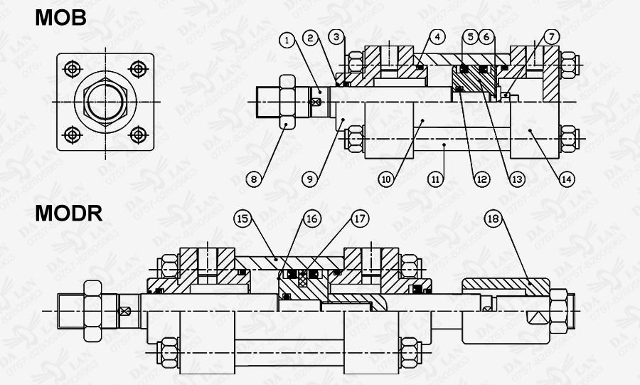 大兰方型铸件轻油MOB系列油压缸尺寸