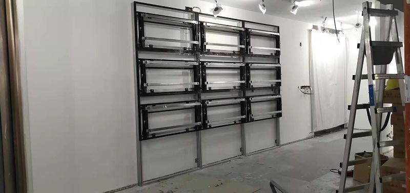 众投邦展厅55寸3.5mm液晶拼接屏液压前维护安装效果图