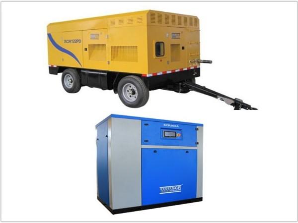 上图有油移动式空压机,下图是无油涡旋空压机