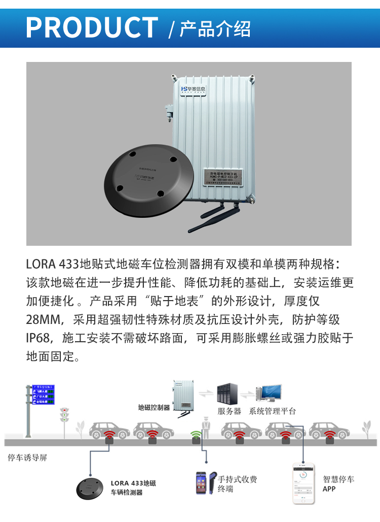 LORA-433地贴式双模地磁车位检测器_02