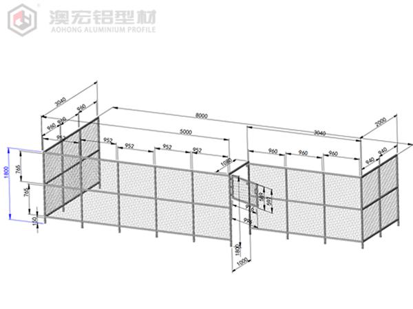 铝型材安全围栏图纸